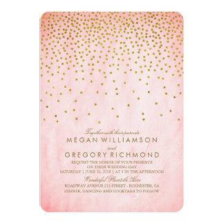 Vintage Gold Confetti Pink Wedding Card