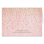 Vintage Gold Confetti Pink Wedding Thank You Note Card
