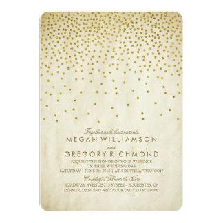 Vintage Gold Confetti Wedding Card