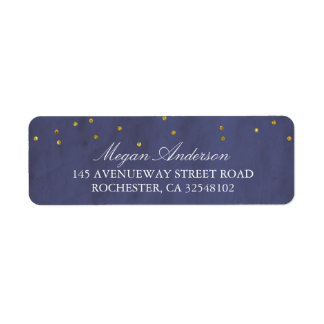 Vintage Gold Confetti Wedding Navy Return Address Label