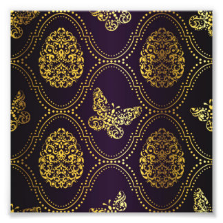 vintage,gold,damask,butterfly,pattern,chic,girly, photo print