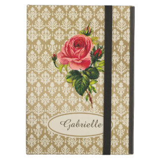 Vintage Gold Damask Pattern Pink Rose and Name iPad Air Case