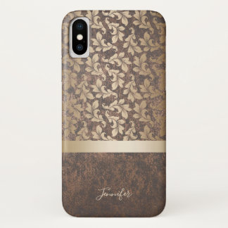 Vintage Gold Damask Pattern Stylish Copper Texture iPhone X Case
