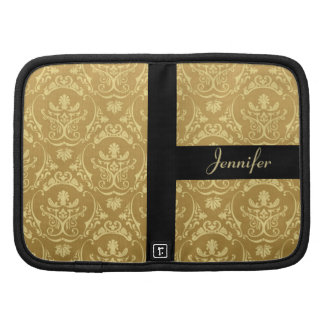 Vintage Gold Damask Personalized Day Planner