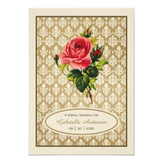 Vintage Gold Damask Pink Rose Bridal Shower 13 Cm X 18 Cm Invitation Card