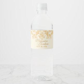 Vintage Gold Damask Water Bottle Label