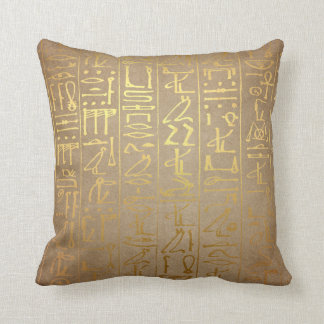 Vintage Gold Egyptian Hieroglyphics Paper Print Throw Pillow