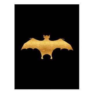 Vintage Gold Faux Foil Bat Halloween Bats Black Postcard