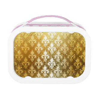 Vintage,gold,fleur de lis,antique,vintage,chic,fun lunchboxes