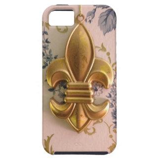 Vintage gold fleur de lis blue damask iPhone 5 case