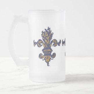Vintage Gold Fleur de lis Frosted Glass Mug