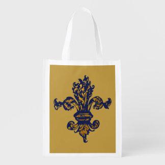 Vintage Gold Fleur de lis Grocery Bag