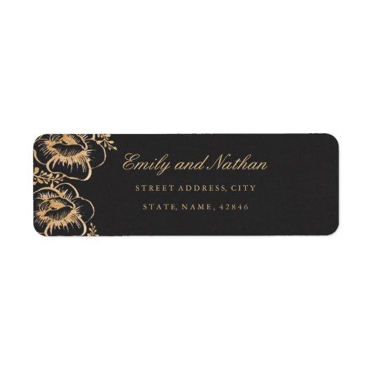 Vintage Gold Floral Return Address Label