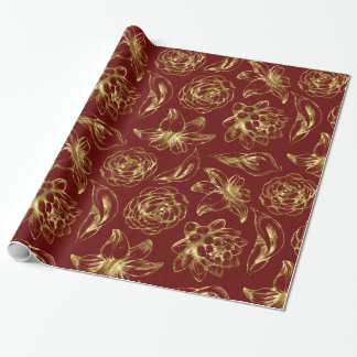 Vintage Gold Flowers Pattern Dark Red Background Wrapping Paper