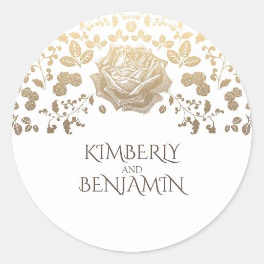 Vintage Gold Flowers White Elegant Wedding Round Sticker