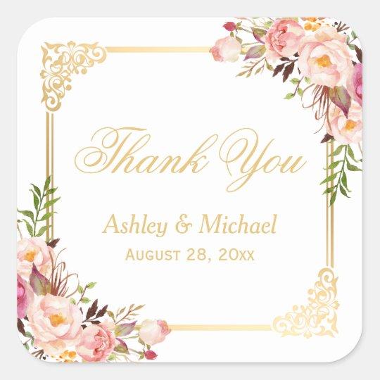 Vintage Gold Frame Floral Thank You Wedding Favour