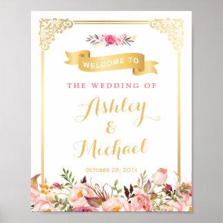 Vintage Gold Frame Floral Wedding Reception Sign Poster