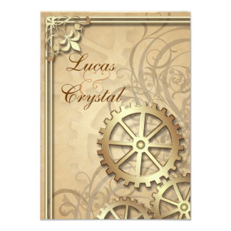 Vintage Gold Gears Steampunk Wedding Invitation