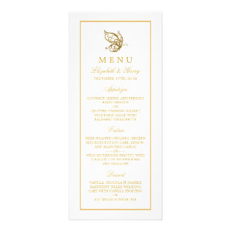 Vintage Gold Glitter Butterfly Wedding Menu Rack Card