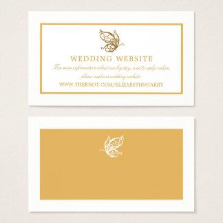 Vintage Gold Glitter Butterfly Wedding Website Business Card