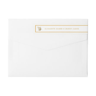 Vintage Gold Glitter Butterfly Wedding Wrap Around Label