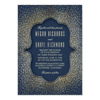 Vintage Gold Glitter Confetti Navy Wedding 13 Cm X 18 Cm Invitation Card