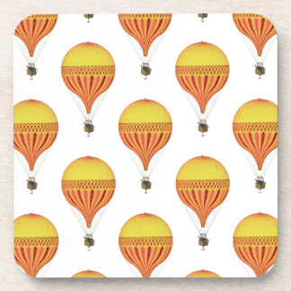 Vintage Gold, Hot Pink, Fuchsia Hot Air Balloons Beverage Coasters