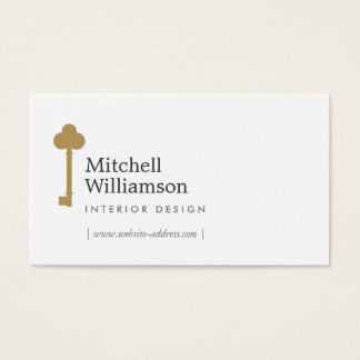 Vintage Gold Key Interior Designer Real Estate II Business Card