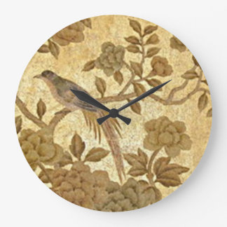 Vintage Gold Leaf  with Bird Wall Clock