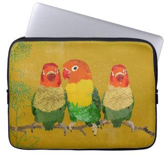 Vintage Gold Love Birds Computer Sleeve
