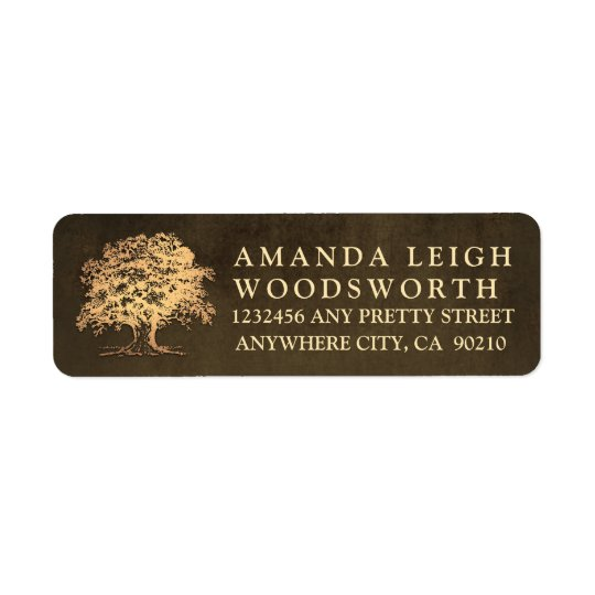 Vintage Gold Oak Tree Wedding Address Labels
