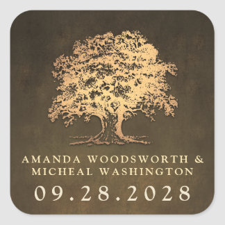 Vintage Gold Oak Tree Wedding Favor Stickers