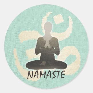 Vintage Gold Om Sign Green Linen Namaste Yoga Round Sticker