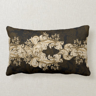 Vintage Gold on Black Swirl cushion