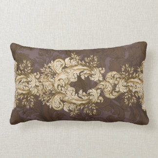 Vintage Gold on Mauve Swirl 2 Lumbar Pillow