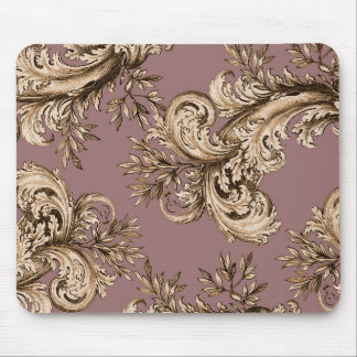 Vintage Gold on Mauve Swirl Mouse Pad