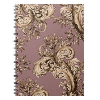 Vintage Gold on Mauve Swirl Spiral Notebooks