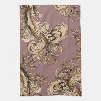 Vintage Gold on Mauve Swirl Tea Towels