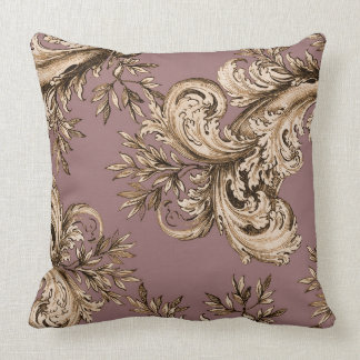 Vintage Gold on Mauve Swirl Throw Pillow