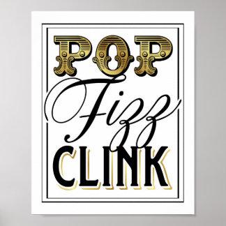 Vintage Gold POP FIZZ CLINK Sign Print