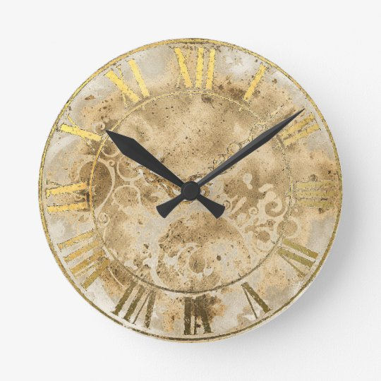 Vintage Gold Roman Numeral Wall Clock Zazzle Co Uk