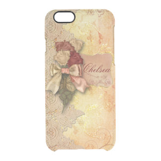 Vintage Gold Roses and Lace Personalized Clear iPhone 6/6S Case