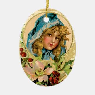 Vintage Gold Seasons Greetings Christmas Ornament