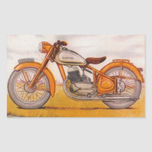 Vintage Gold Socovel Motorcycle Print Stickers