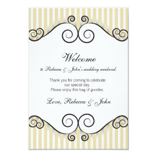 Vintage Gold Striped Wedding Welcome Card