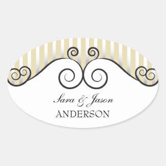 Vintage Gold Stripes & Irongate Swirls wedding Oval Stickers