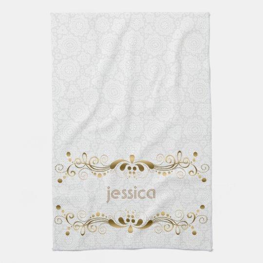vintage gold swirls frame tea towel zazzle co uk
