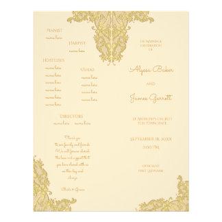 Vintage Gold Wedding Program 21.5 Cm X 28 Cm Flyer