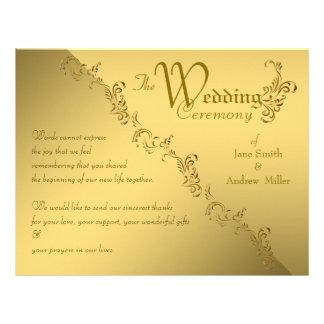 Vintage gold  Wedding Program Custom Flyer