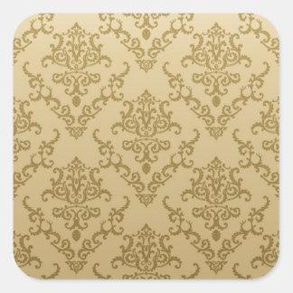 Vintage golden beige elegant victorian pattern square sticker